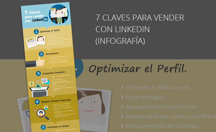 Infografía las siete claves para vender con linkedin