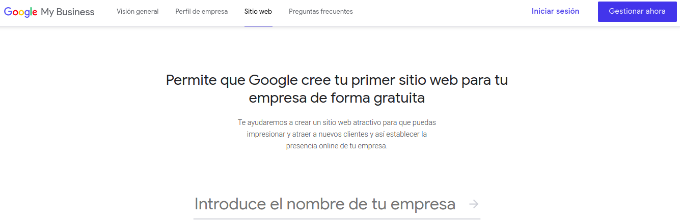 Interfaz de Google My Business Website Builder
