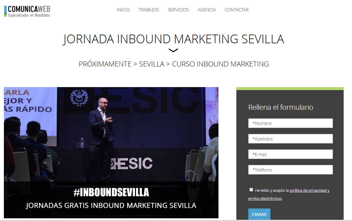 ejemplo landing page evento empresarial