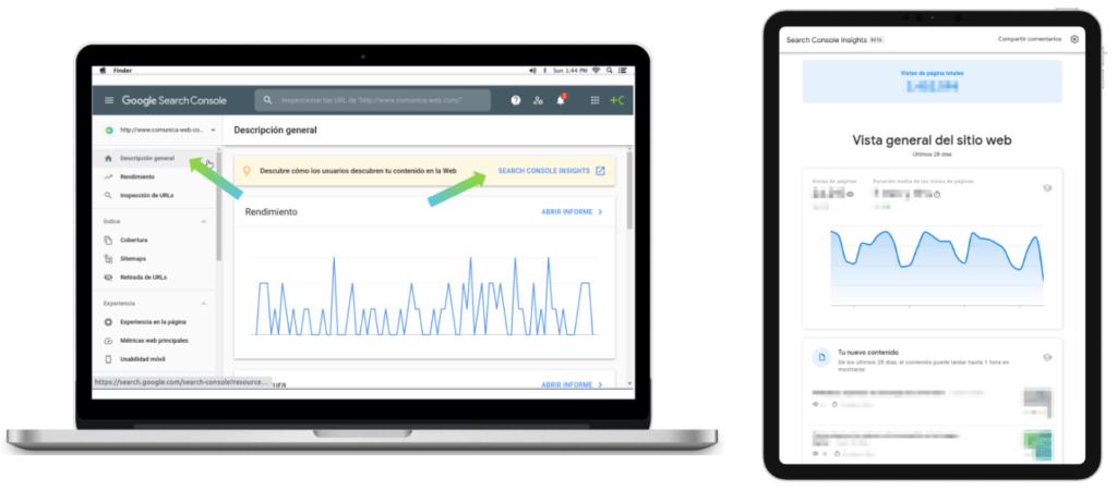 cómo acceder a Google Search Console Insights